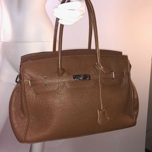 Handbags - Brown Pebble Leather Birkin-style Bag
